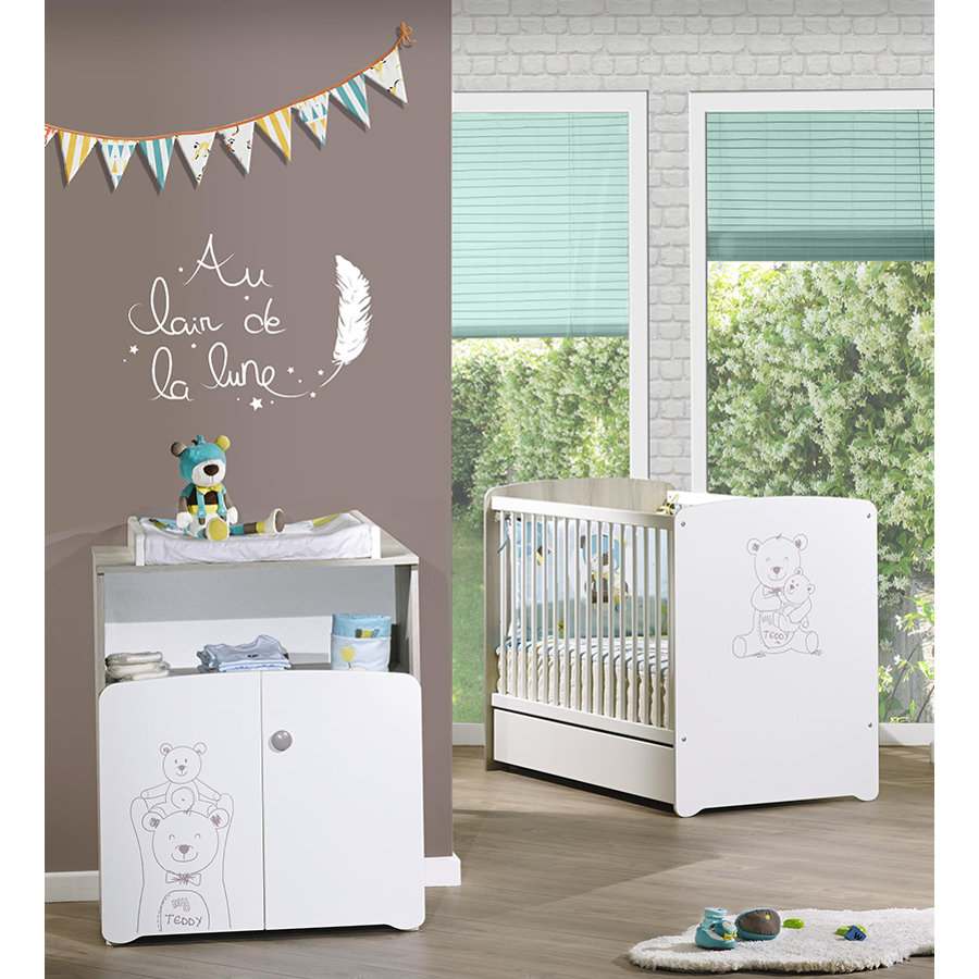 Baby Price Chambre bébé Duo lit, commode 2 portes Teddy