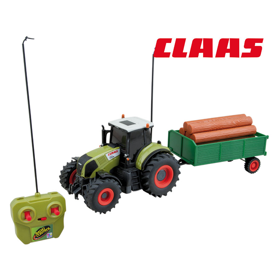 HAPPY PEOPLE Radiostyrd Traktor Claas Axion 850 med släp, 1:28