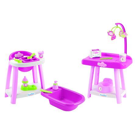 ecoiffier nursery - 3v1 Přebalovací pult se židlí a vaničkou
