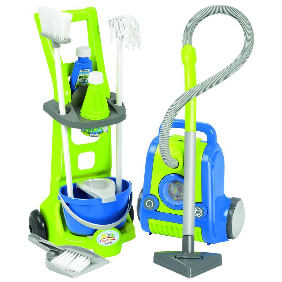 ecoiffier Clean Casa - Carrello di pulizia con aspirapolvere