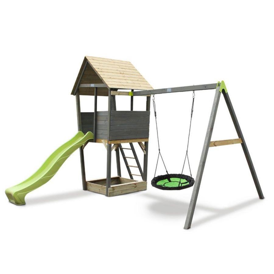 EXIT Drewniana wieża zabaw z huśtawką z siatki Aksent, szara