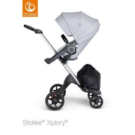 STOKKE® Kinderwagen Xplory® V6 Silver/Black mit Sportwagenaufsatz Grey Melange und Einkaufstasche