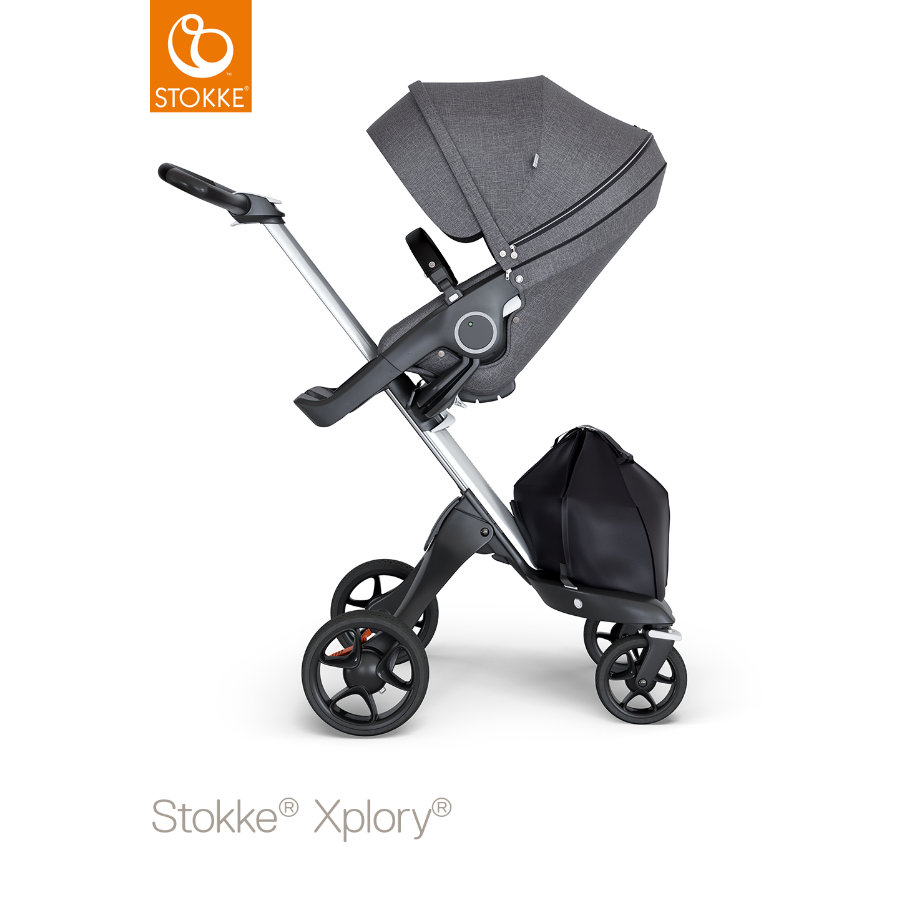 STOKKE® Kinderwagen Xplory® V6 Silver/Black mit Sportwagenaufsatz Black Melange und Einkaufstasche