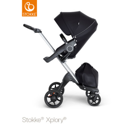Stokke® lastenrattaat Xplory® V6 istuinosalla ja ostoskassilla, hopea/musta