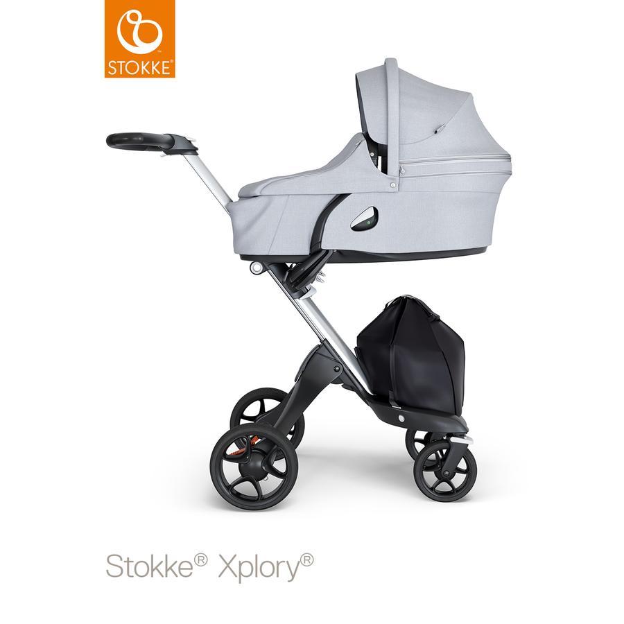 STOKKE® Kinderwagen Xplory® V6 Silver/Black mit Babyschale Grey Melange und Einkaufstasche
