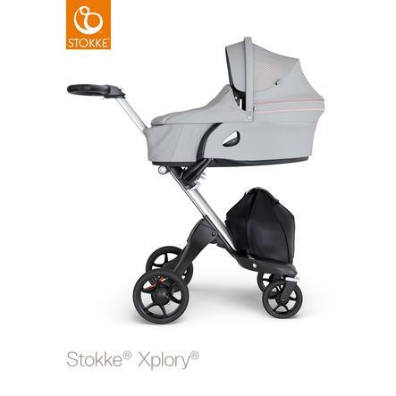 STOKKE® Kinderwagen Xplory® V6 Silver/Black mit Babyschale Athleisure Pink und Einkaufstasche