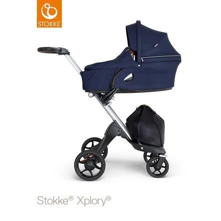 STOKKE® Kinderwagen Xplory® V6 Silver/Brown mit Babyschale Deep Blue und Einkaufstasche