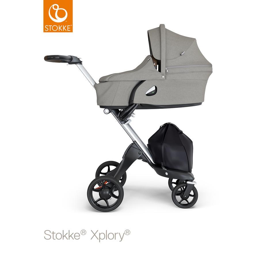 STOKKE® Kinderwagen Xplory® V6 Silver/Brown mit Babyschale Brushed Grey und Einkaufstasche