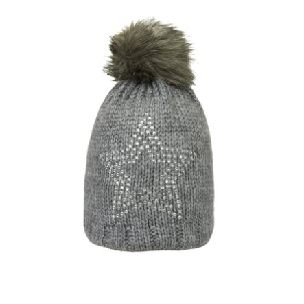 Döll Girl s bobble hat knit, grigio