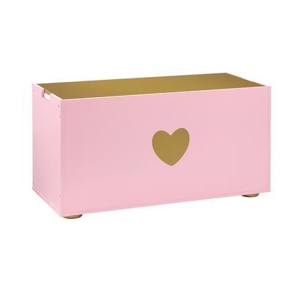 MUSTERKIND® Coffre à jouets Tilia, rose/doré