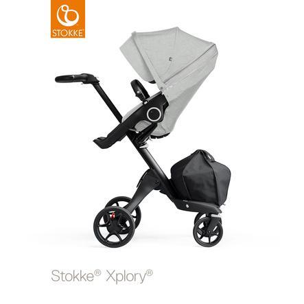 STOKKE® Kinderwagen Xplory® V6 Black/Black mit Sportwagenaufsatz Grey Melange und Einkaufstasche