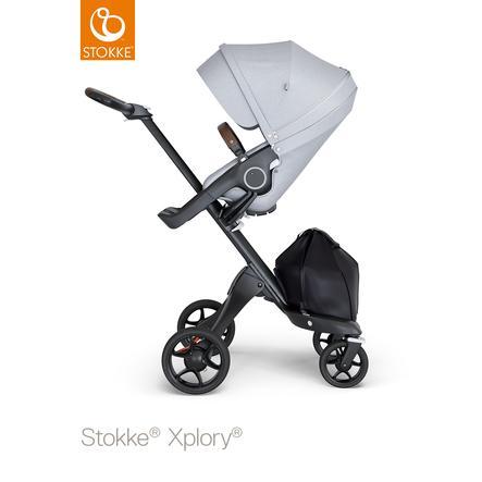 STOKKE® Kinderwagen Xplory® V6 Black/Brown mit Sportwagenaufsatz Grey Melange und Einkaufstasche