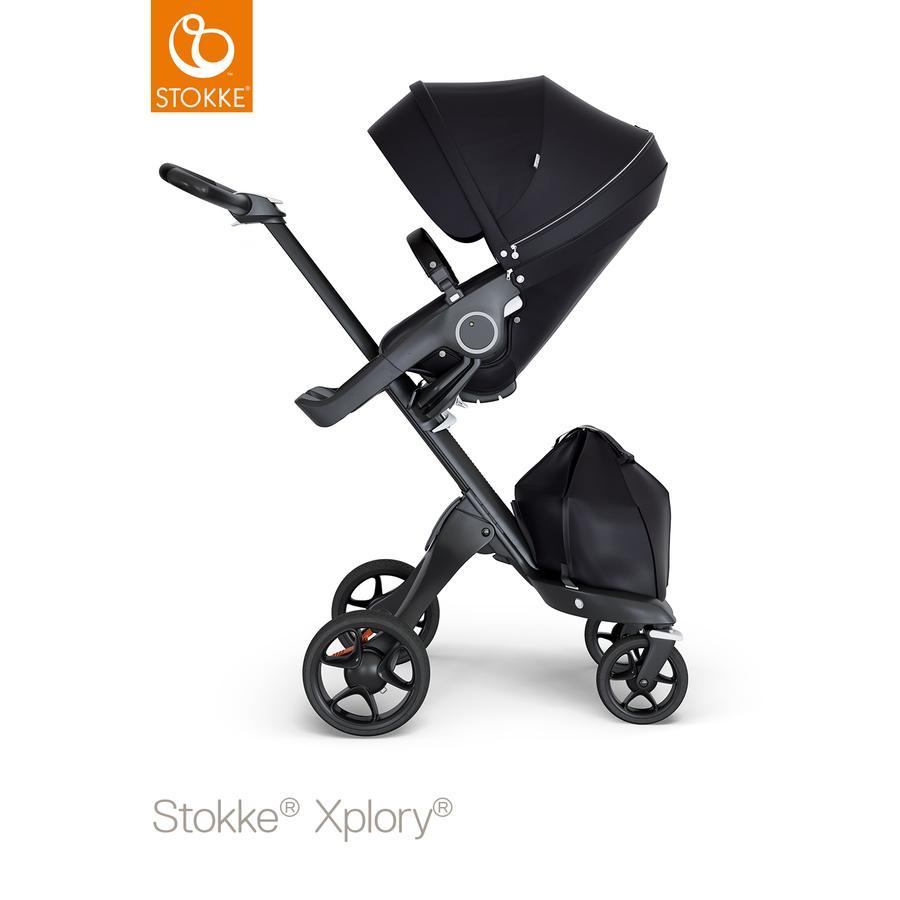STOKKE® Kinderwagen Xplory® V6 Black/Black mit Sportwagenaufsatz Black und Einkaufstasche
