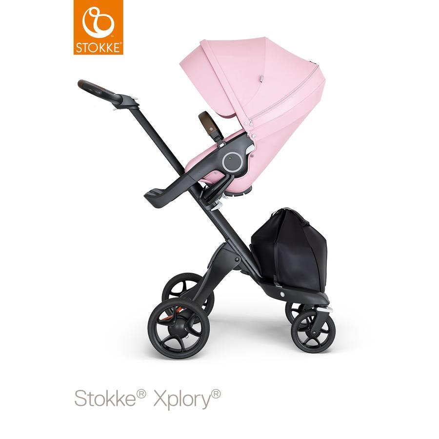 STOKKE® Kinderwagen Xplory® V6 Black/Brown mit Sportwagenaufsatz Lotus Pink und Einkaufstasche