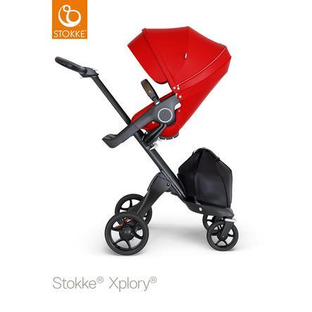 STOKKE® Kinderwagen Xplory® V6 Black/Brown mit Sportwagenaufsatz Red und Einkaufstasche