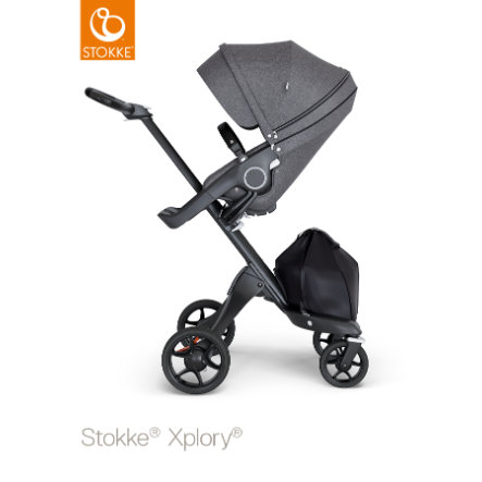 STOKKE® Kinderwagen Xplory® V6 Black/Black mit Sportwagenaufsatz Black Melange und Einkaufstasche