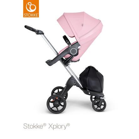 STOKKE® Kinderwagen Xplory® V6 Silver/Black mit Sportwagenaufsatz Lotus Pink und Einkaufstasche