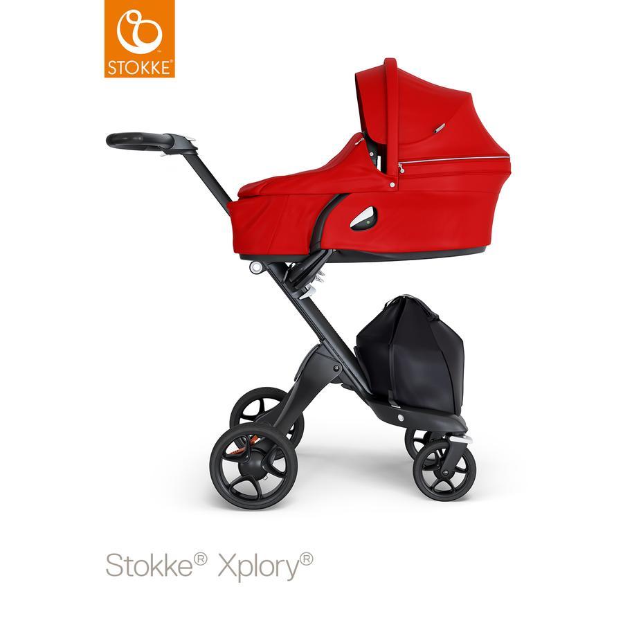 STOKKE® Kinderwagen Xplory® V6 Black/Black mit Babyschale Red und Einkaufstasche