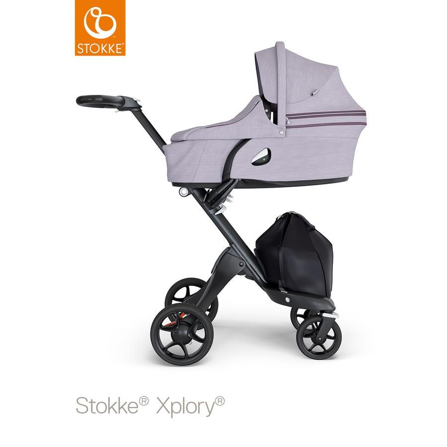 STOKKE® Kinderwagen Xplory® V6 Black/Black mit Babyschale Brushed Lilac und Einkaufstasche