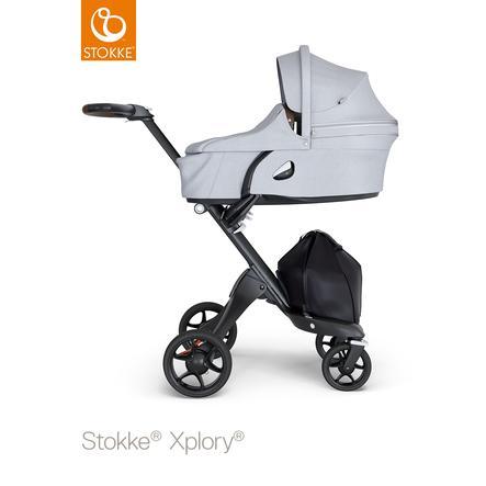 STOKKE® Kinderwagen Xplory® V6 Black/Brown mit Babyschale Grey Melange und Einkaufstasche