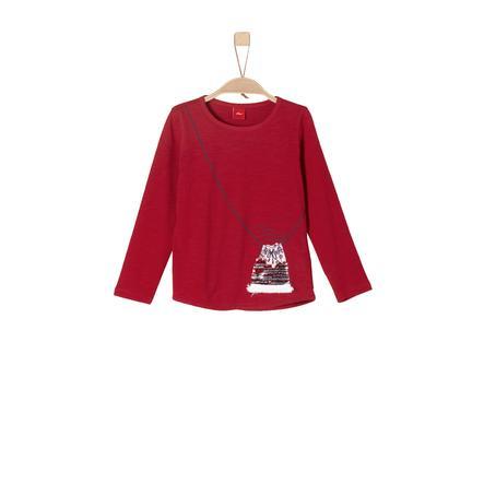 s.Oliver Girl s chemise à manches longues rouge foncé