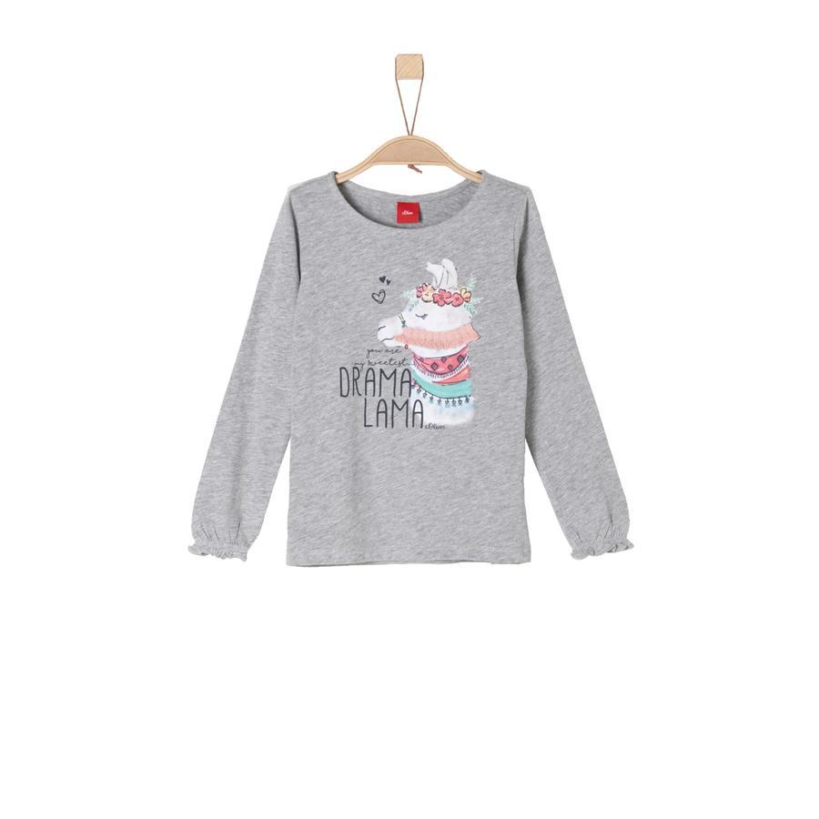 s.Oliver Girl s shirt met lange mouwen grijs melange