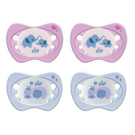 nip Schnuller Newborn Night lila / rosa Gr. 0 Silikon Elefant und Hippo 4 Stück