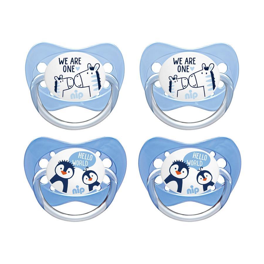 nip Ciuccio Family misura 1 lattice, Pinguino e Zebra, 4 pezzi