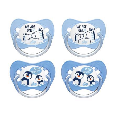 nip Familie dummy Str. 2 silikone pingvin og zebra 4 stykker
