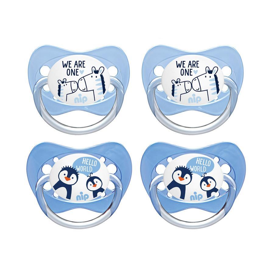 nip sucette Family taille 3 pingouin silicone et zèbre 4 pièces