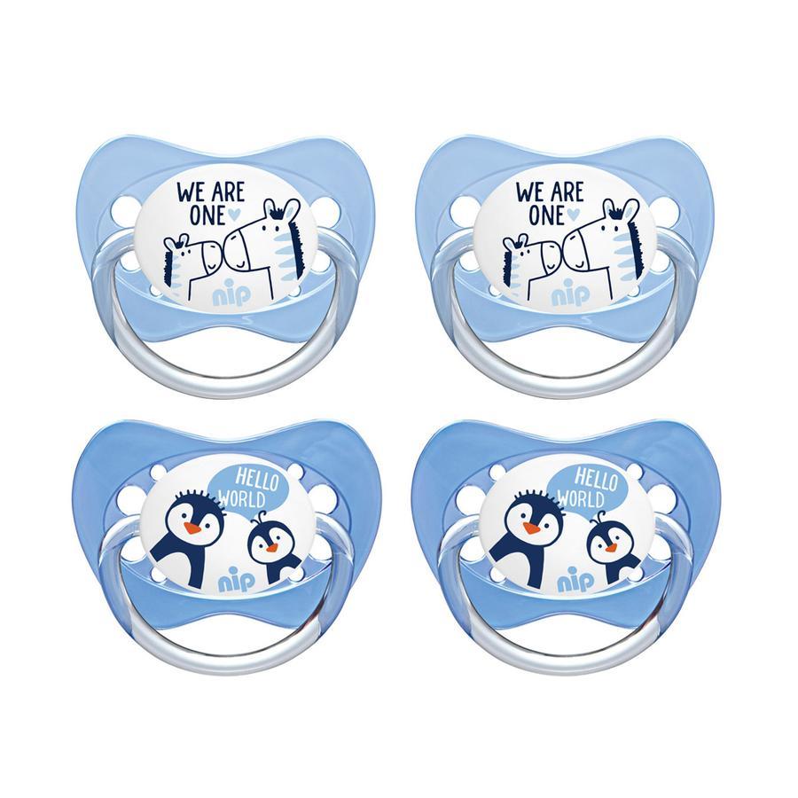 nip Manichino Family misura 1 pinguino in silicone e zebra 4 pezzi