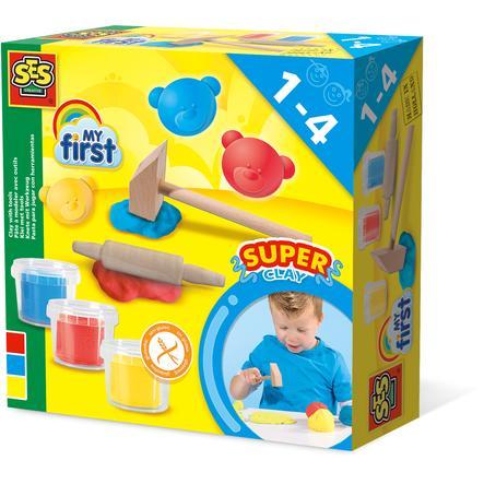 SES Creative® Pâte à modeler My first et outils enfant bois 3 x 90 g