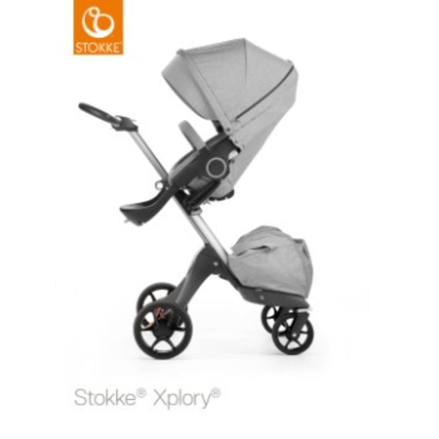 STOKKE® Xplory® V5 Kinderwagen Grey Melange mit Sitz und Einkaufstasche