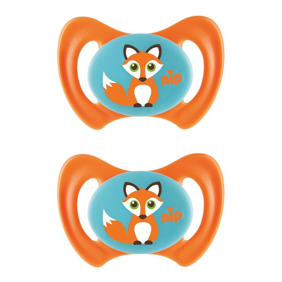 nip Schnuller Miss Denti orange Gr. 1 Silikon Fuchs 2 Stück
