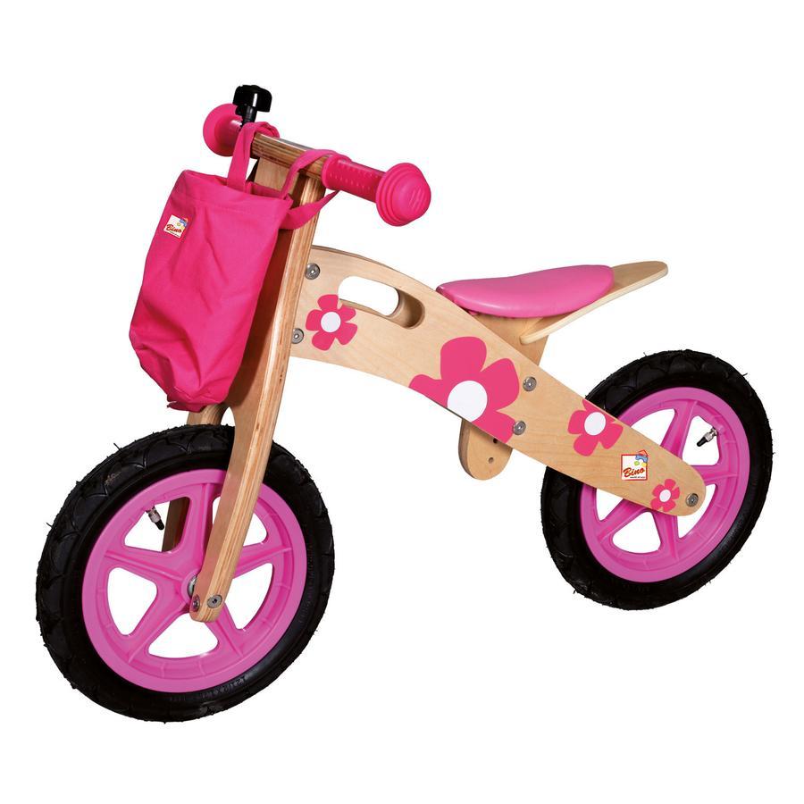 BINO Sykkel av tre, rosa med blomster flobi