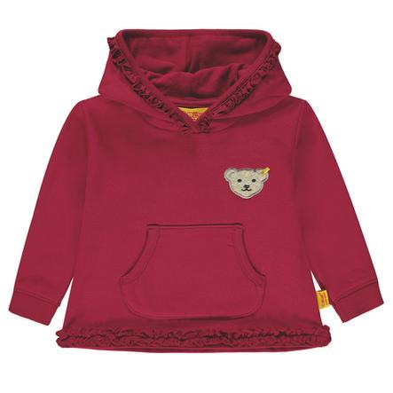 Steiff Girls Sweatshirt mit Kapuze, dunkelrot
