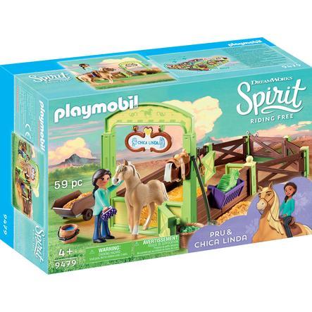 PLAYMOBIL® Spirit Riding Free Pru & Chica Linda met paardenbox 9479