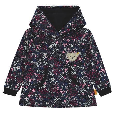 Steiff Girls Sweatshirt mit Kapuze, marine mit Blümchen