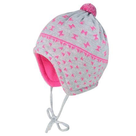 maximo Girl cappuccio s fiocchi grigio chiaro-melange-melange-fandango rosa