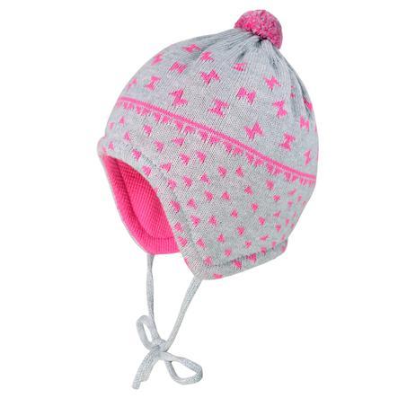 maximo Girl s capuchón lazos gris claro-melange-fandango rosa