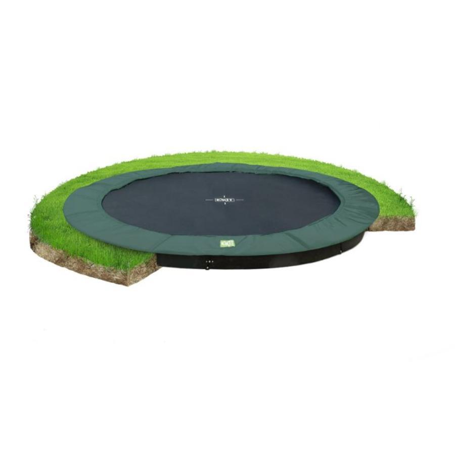 EXIT ebenerdiges Trampolin InTerra ø366cm - grün