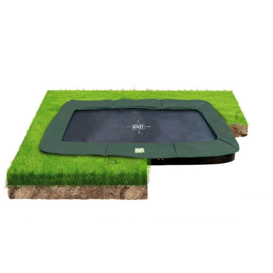 EXIT InTerra groundlevel trampoline 214x366cm - groen