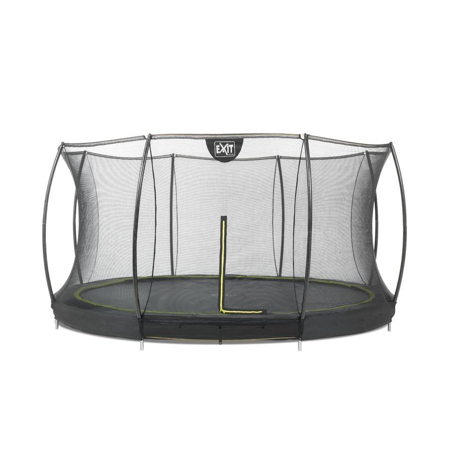 Podłogowa trampolina EXIT Silhouette ø366 cm z siatką zabezpieczającą - schwa rz