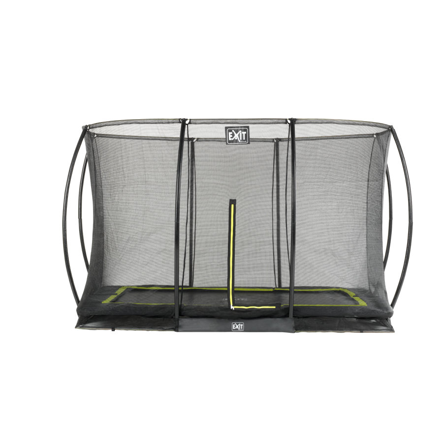 EXIT trampolin silhouet rektangulær 244x366 cm med sikkerhedsnet - sort