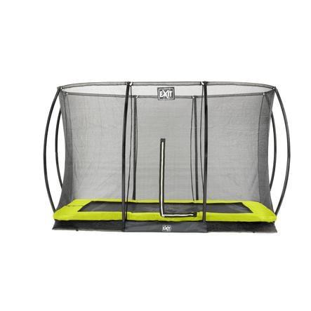 EXIT nedgravet trampolin silhuet rektangulær 214 x 305cm med sikkerhedsnet - grøn