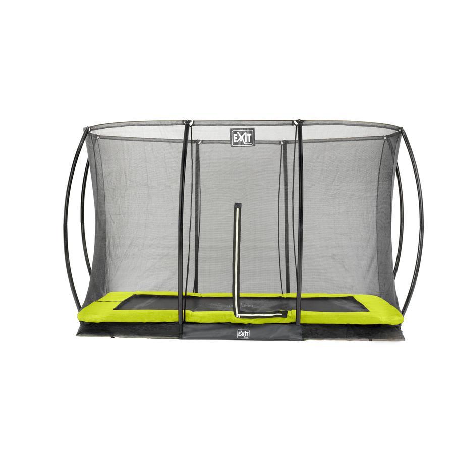Sylwetka trampoliny podłogowej EXIT prostokątna 244x366 cm z siatką zabezpieczającą - zielona
