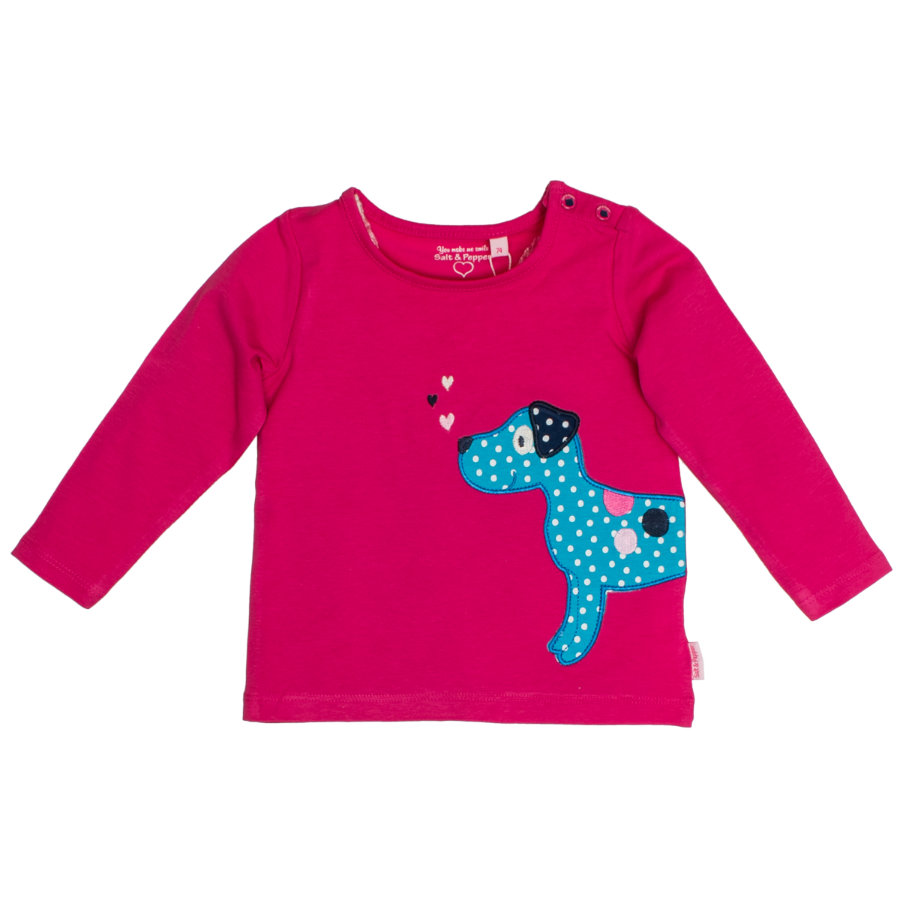 SALT AND PEPPER Langarmshirt Happy uni Hund magenta