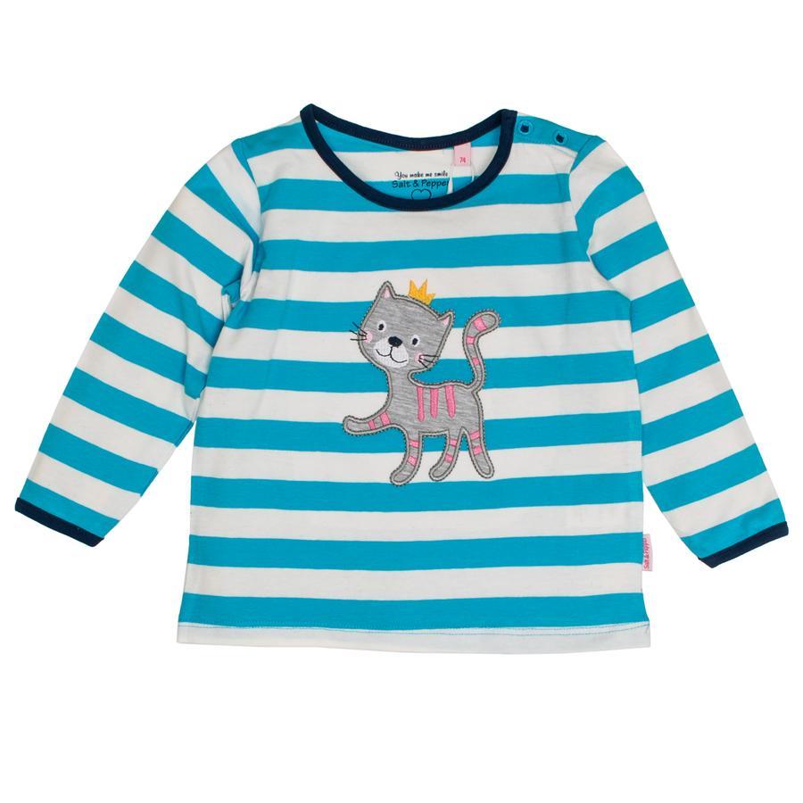 SALT AND PEPPER Langermet skjorte for gutter Happy stripe curacao blue