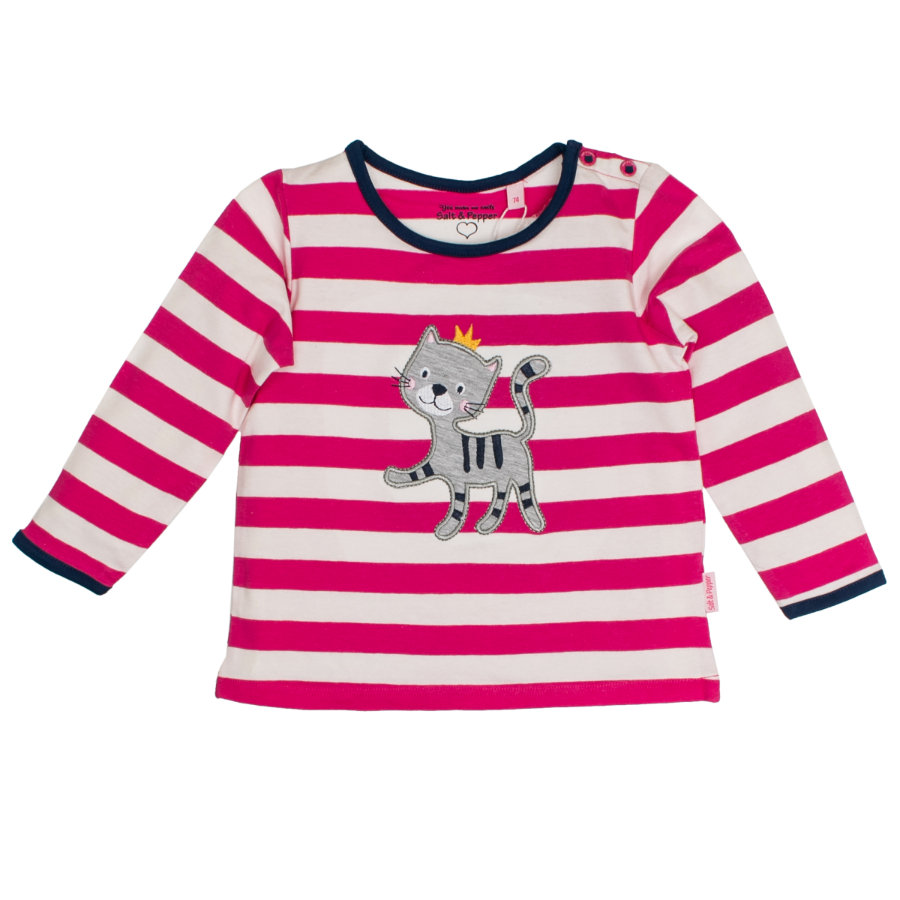 SALT AND PEPPER Girls Langarmshirt Happy stripe magenta