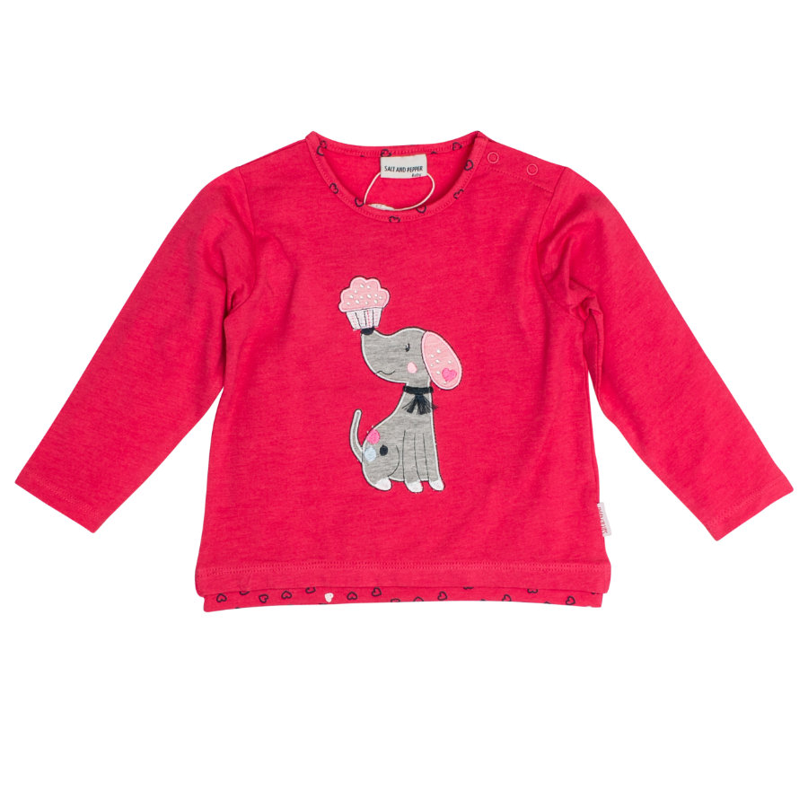 SALT AND PEPPER Girl s Shirt met lange mouwen Mon Amie franjes paradijselijk roz